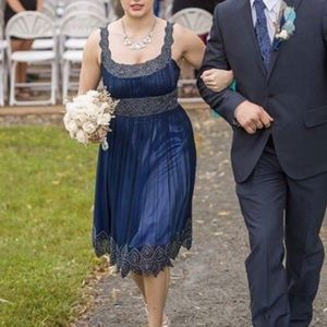 Navy Beaded Vintage Adrianna Papell Cocktail Dress